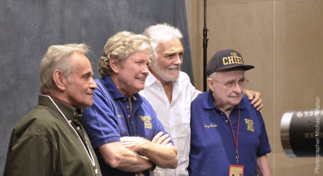 Derrik Lewis, Allan Hunt, David Hedison and Terry Becker at the October 2014 Hollywood Show