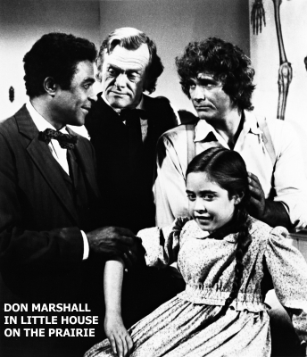 Don Marshall in Little House on the Prairie, with fellow Land of the Giants cast member, Kevin Hagen (Inspector Kobick)