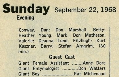 TV Guide listing from Sunday 22nd September 1968